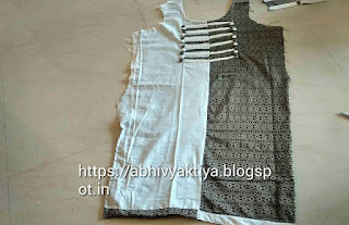 kurti pattern with double color