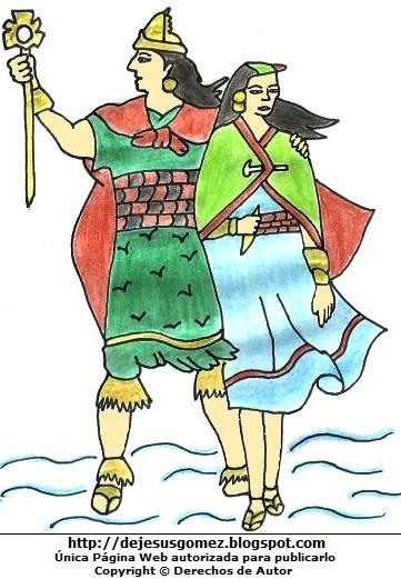 Imagen de Manco Cápac y Mama Ocllo a colores para niños  (Manco Cápac y Mama Ocllo pasando por el Lago Titicaca). Dibujo de Manco Capac y Mama Ocllo hecho por Jesus Gómez