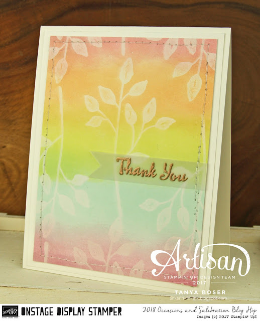 Stampin' Up!'s Occasion Mini is loaded with beauty. Like the Petal Palette stamp set that I did the ghosting technique with!~Tanya Boser as Display Stamper