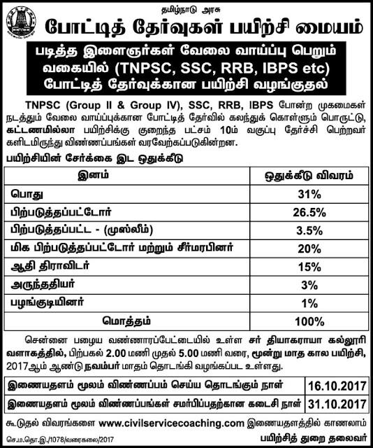 Tamilnadu Government Free Coaching for TNPSC Exams November 2017