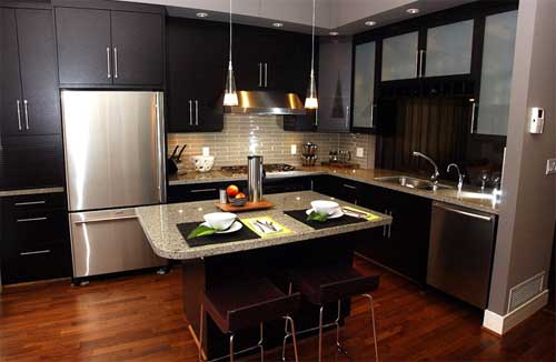Free New Stainless Kitchen Interior Designs With Hardwood Floors 2019