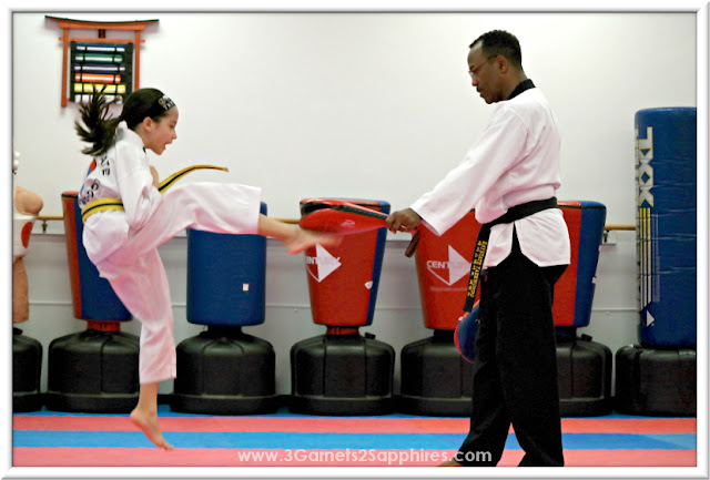 Jumping front kick in Logo Loops Taekwondo headband #loveourloops (sponsored)  |  www.3Garnets2Sapphires.com