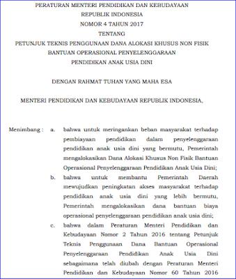 Juknis BOP PAUD Berdasarkan Permendikbud No 4 Tahun 2017