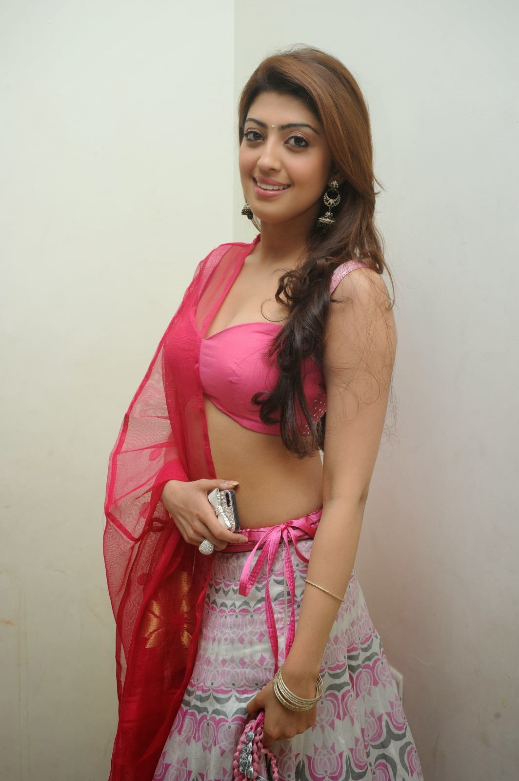 Gorgeous Pranitha in pink lengha cute navel show at success meet