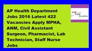 AP Health Department Jobs 2016 Latest 422 Vacancies Apply MPHA, ANM, Civil Assistant Surgeon, Pharmacist, Lab Technician, Staff Nurse Jobs