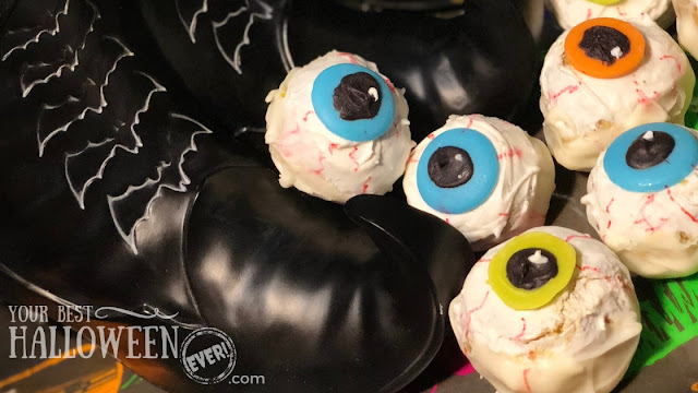 eyeball cake pops, cake balls, witch boots