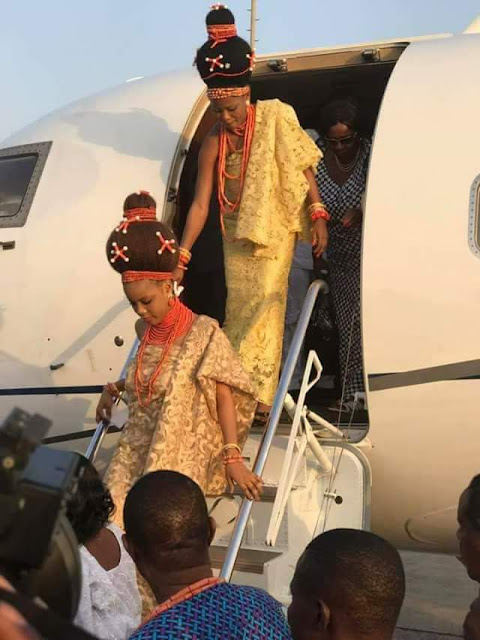 Photos: Oba of Benin arrives Abuja with his wives