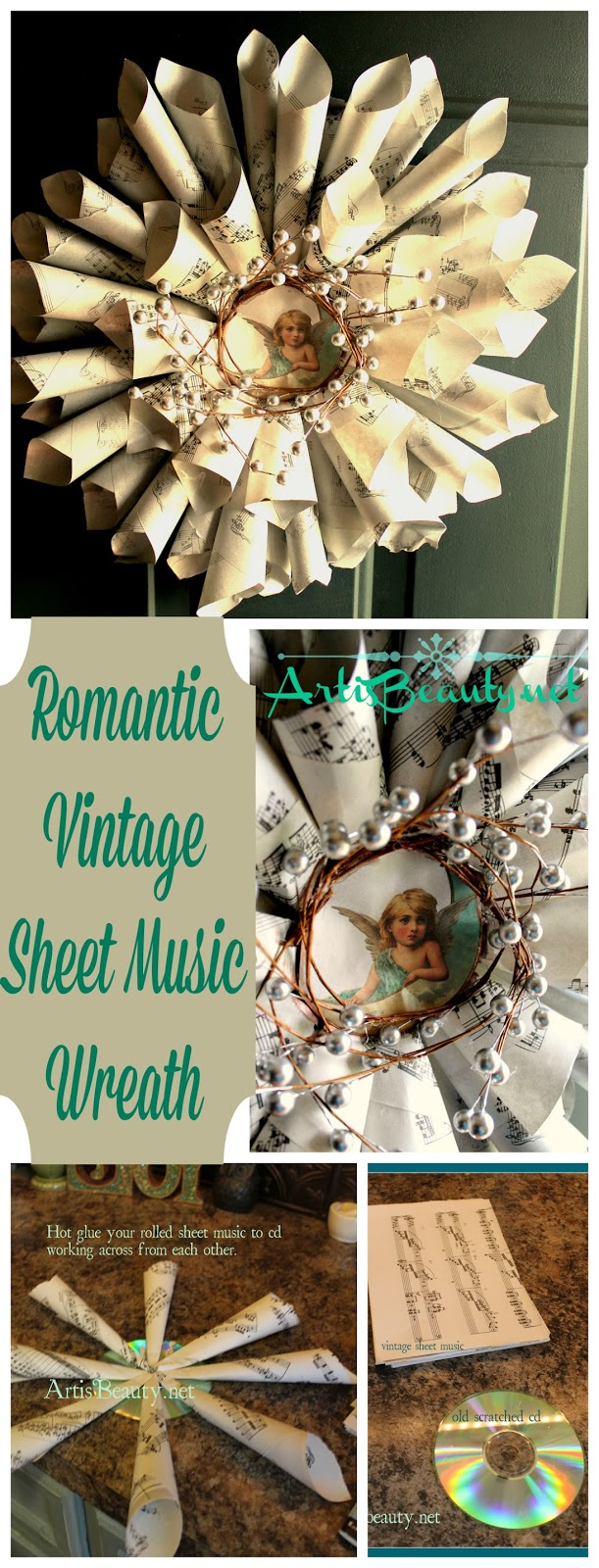 ART IS BEAUTY: Graphics Fairy Sheet music wreath using OLD CD