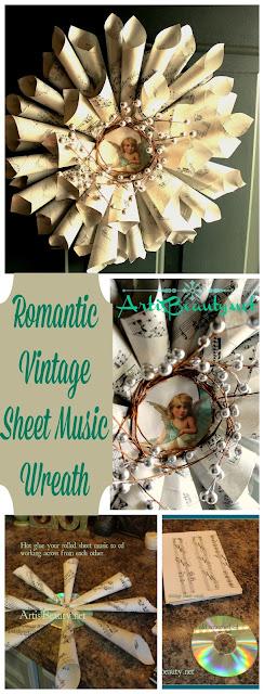 diy craft vintage sheet music turned christmas holiday wreath