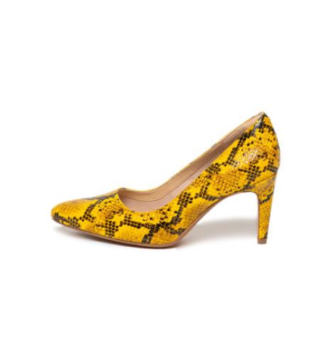 Pantofi dama de firma de piele ecologica, cu varf ascutit galbeni snake print