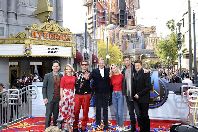 Paul Rudd, Scarlett Johansson, Robert Downey Jr., Bob Iger, Brie Larson, Chris Hemsworth and Jeremy Renner attend Avengers Universe Unites, a charity event to celebrate the donation of more than $5 million in cash and toys to nonprofits supporting children with critical illnesses, at Disney California Adventure Park on April 5, 2019 in Anaheim, California.