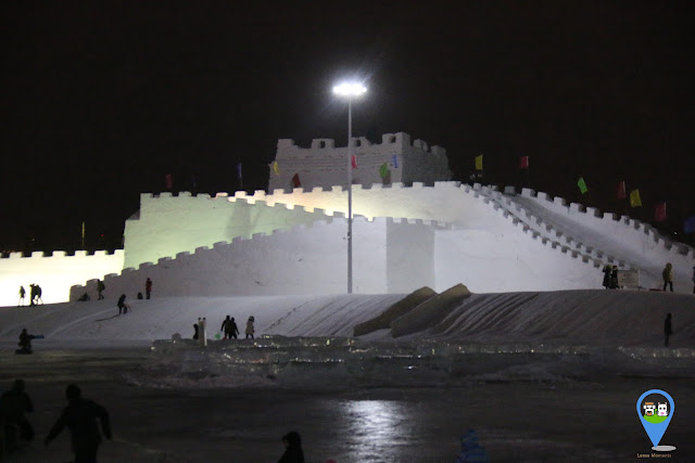 China's Great Wall Ice Sculpture at Harbin Ice Sculpture Exhibition in Heilongjiang, China