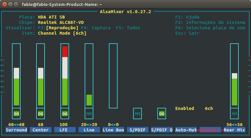 AlsaMixer no terminal com seis canais de áudio habilitados no item Modo de Canal.