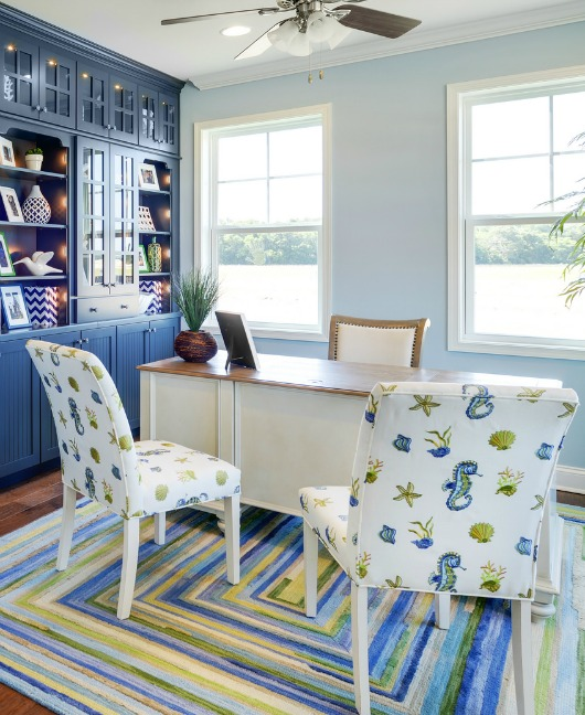 Blue Green and White Sea Life Fabric Upholstered Side Chairs