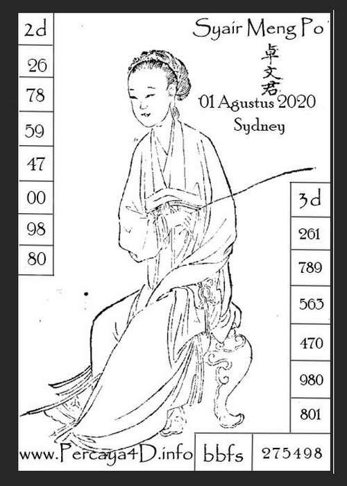 Kode syair Sydney Sabtu 1 Agustus 2020 105