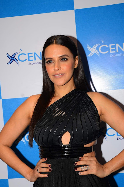 Neha Dhupia Looks Hot In Black Dress At The Launch Event Of Centric Smartphones In Mumbai