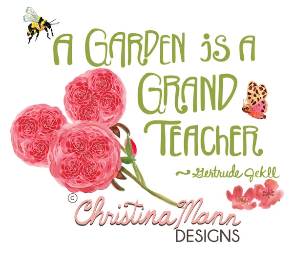 Roses and hand lettered quote by Christina Mann Designs