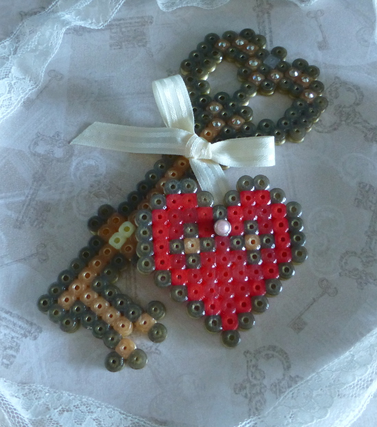 Red and gold heart and key fused bead craft hama perler