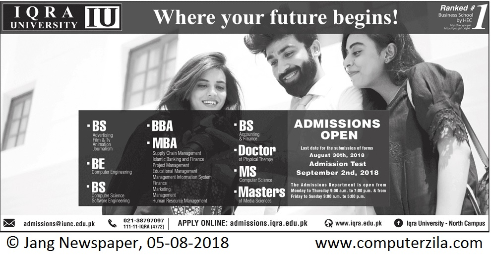 Admissions Open For Fall 2018 At IQRA Karachi Campus