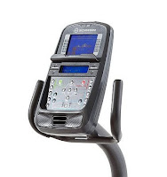 2017 Schwinn 270's console with Bluetooth connectivity, dual blue backlit LCD screens, telemetry enabled, USB charging port, speakers, media port, 3-speed fan