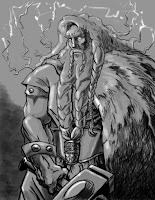 pērkons, thunder, latvian folklore, latvian mythology, latviešu folklora, latviešu mitoloģija, capital r, 2018, drawing