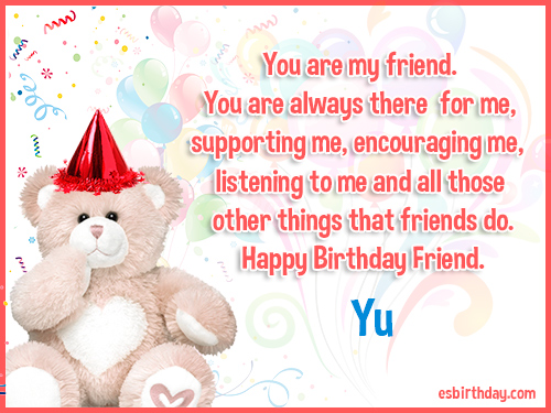 Yu Happy birthday friends always