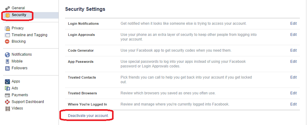 How to freeze my facebook account