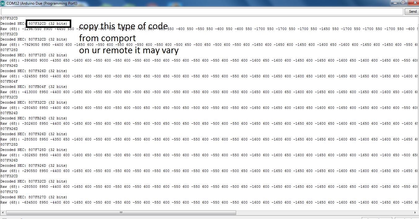arduino due and tsop1738 interfacing