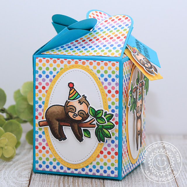 Sunny Studio Stamps: Surprise Party Paper Bold Balloons Happy Thoughts Silly Sloths Wrap Around Box Dies Birthday Card Birthday Gift Box by Angelica Conrad and Juliana Michaels