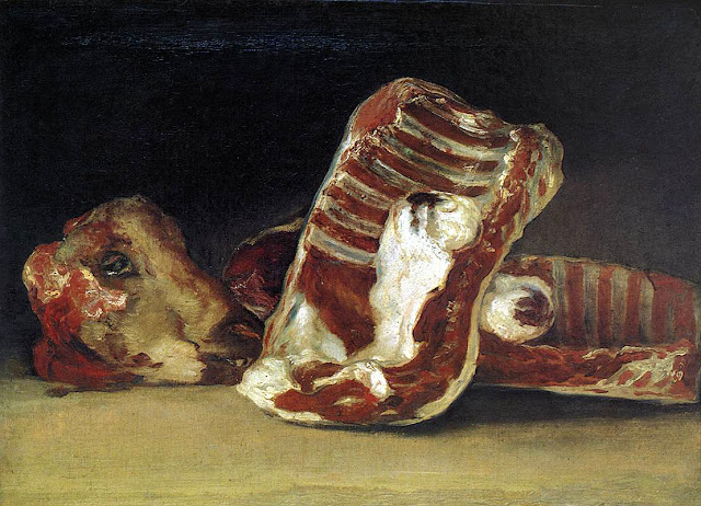 Sheep's Ribs and Head by  Francisco de Goya, Macabre Art, Macabre Paintings, Horror Paintings, Freak Art, Freak Paintings, Horror Picture, Terror Pictures