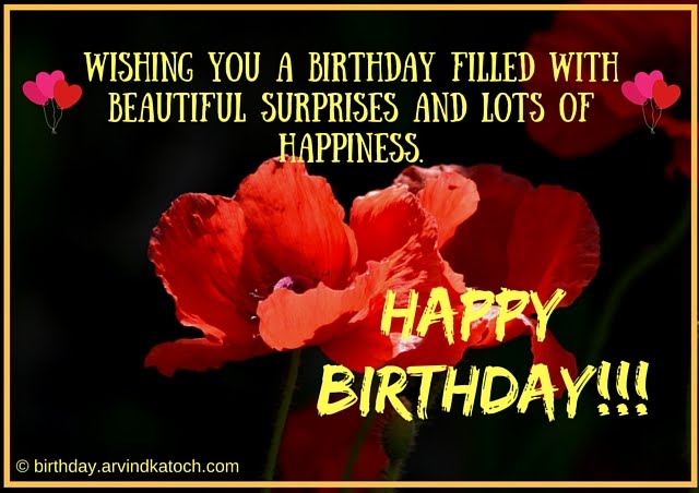 Red Flower, Birthday Card, Wishing, birthday, filled, beautiful, surprises, birthday wish,
