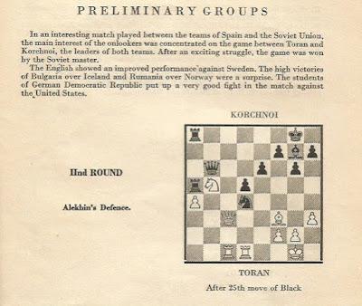 Posición partida Torán-Korchnoi en el III Campeonato Mundial Universitario de Ajedrez - Uppsala 1956