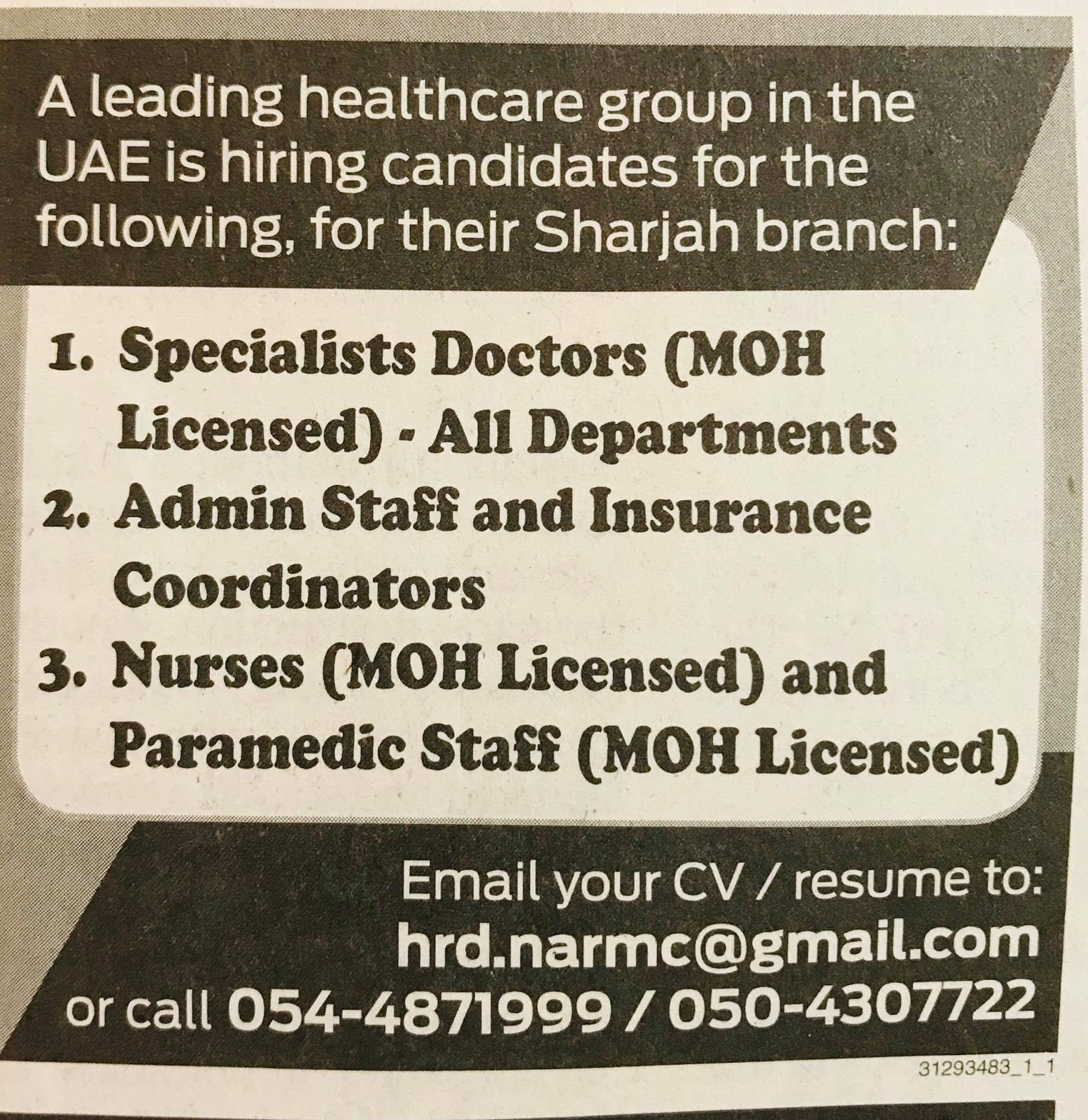 Hiring Candidates A Leading Healthcare group in the UAE Sharjah-UAE