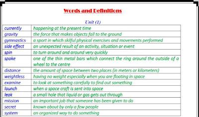 اهم كلمات وتعريفات المنهج في اللغة الانجليزية للصف الثالث الثانوي