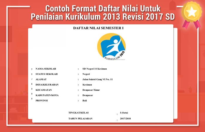 Contoh Format Daftar Nilai Untuk Penilaian Kurikulum 2013 Revisi 2017 SD