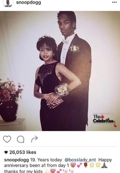 Aww! Snoop Dogg marks wedding anniversary with old picture with his wife of 19 years
