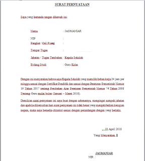 pada postingan kali ini admin ingin berbagi informasi mengenai  Contoh Format Surat Pernyataan Beban Mengajar 24 Jam
