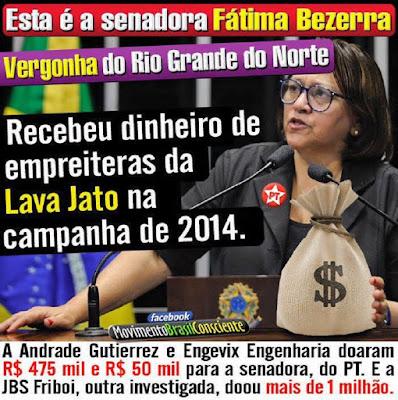 Resultado de imagem para fatima bezerra recebeu doação de empresa de trabalho escravo