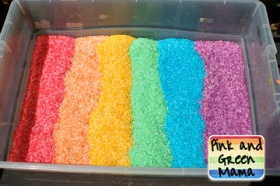 Rainbow Rice Sensory Box