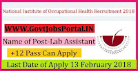 National Institute of Occupational Health Recruitment 2018 – Lab Assistant