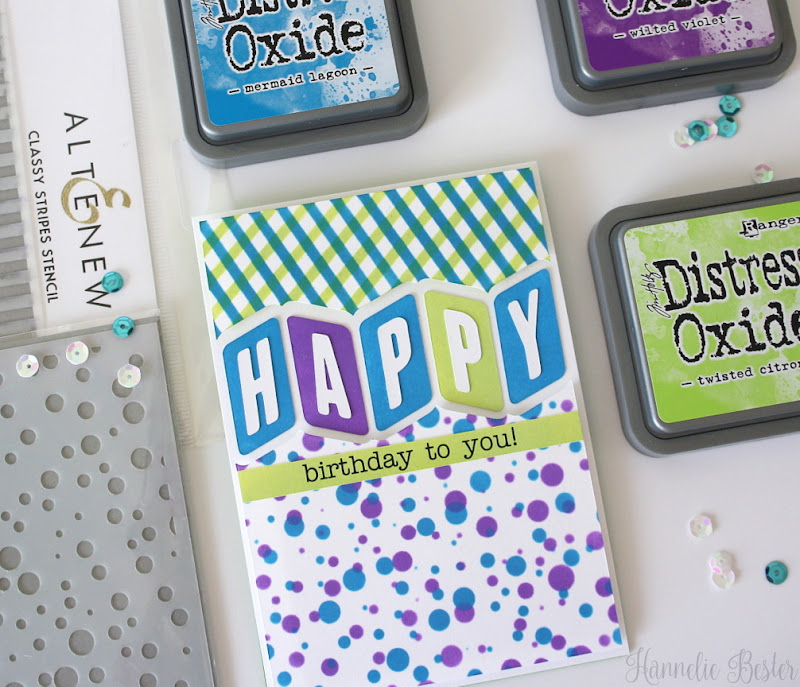 birthday card - dots and stripes - distress ink - stencil - silhouette cameo