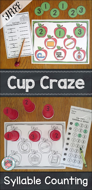 Try out the Cup Craze activity with this free kindergarten and first grade phonological awareness resource for counting one, two, and three syllables.