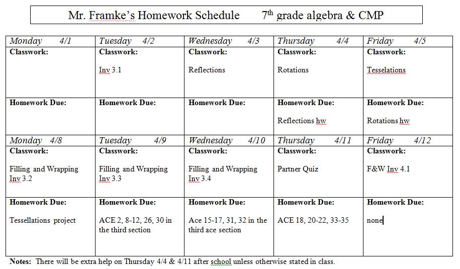 7th Grade Homework Assignments