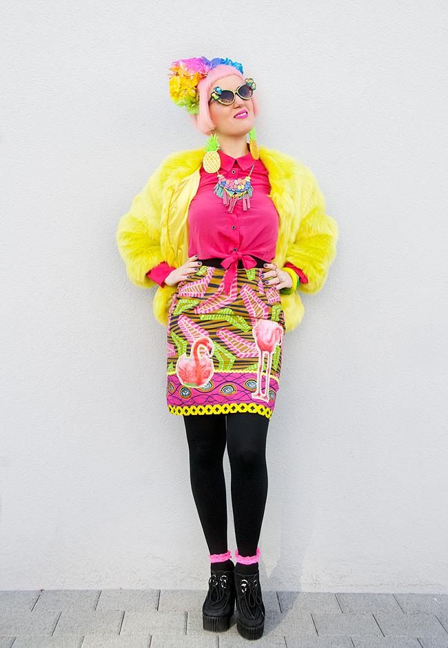 Diane Goldie, flamingo skirt, rainbow skirt