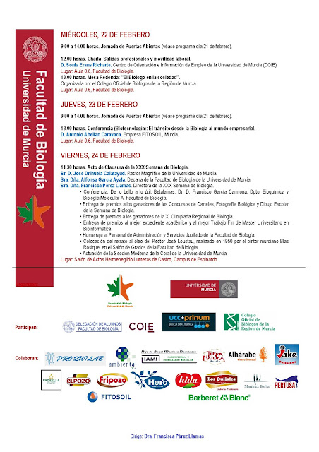 Programa de la XXX Semana de Biología.