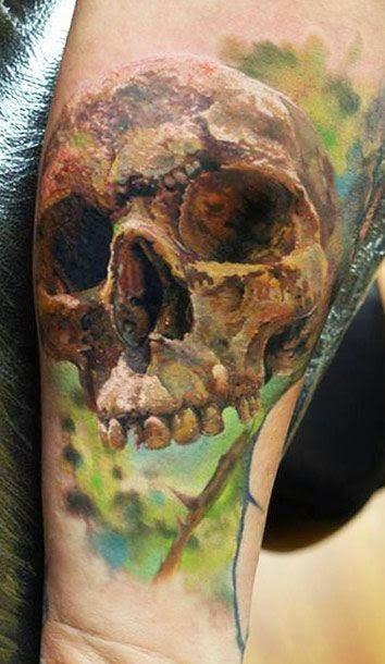 Tatuajes de calaveras espectaculares en la piel de modelos