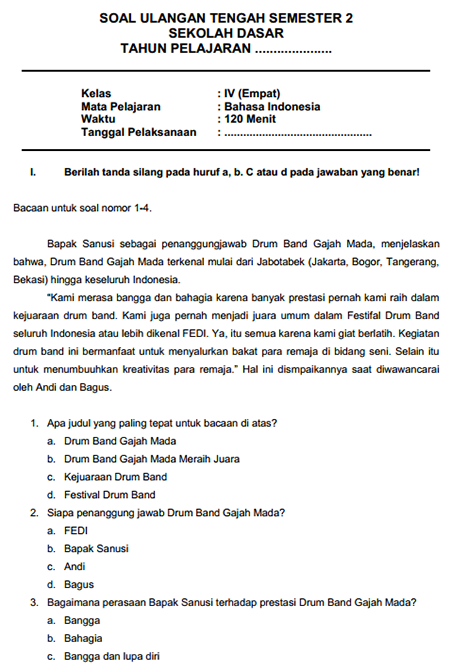 Contoh Soal Latihan  UTS Bahasa Indonesia SD Kelas 4 Semester II