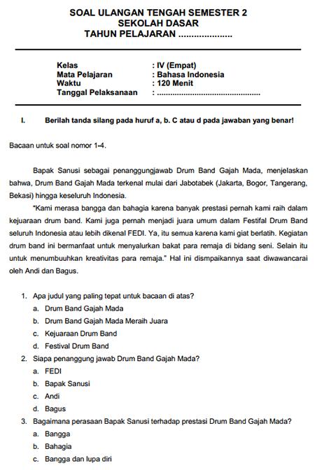 Soal Uts Bahasa Indonesia Kelas 4 Semester 1 Dan Kunci Jawaban : bahasa, indonesia, kelas, semester, kunci, jawaban, Bahasa, Indonesia, Kelas, Semester, Fivefasr