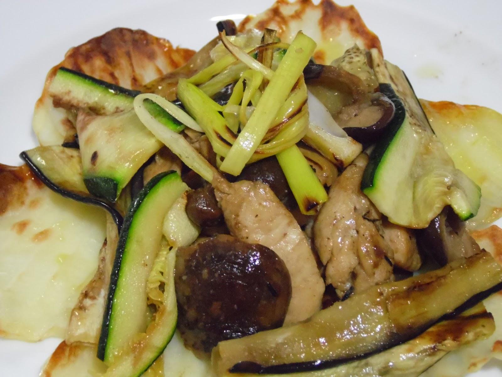 Como Cocinar Verduras A La Plancha   Ayudando A Cocinar Salteado De Pollo Con Setas Y Verduras A La