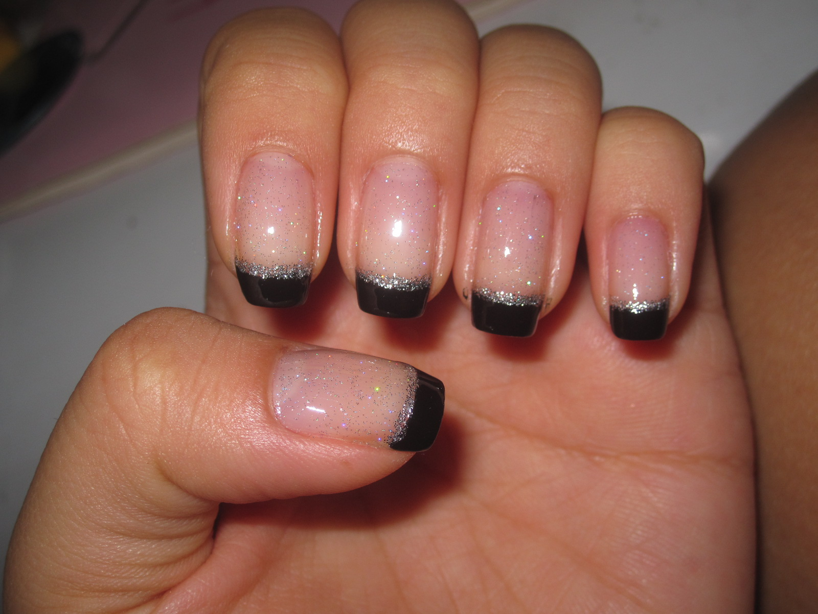 Jelly's Nails: Black French Tips with Silver Lining